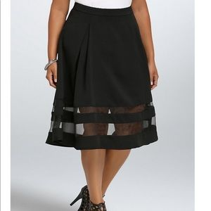 NWT torrid size 16 flared mesh inset midi skirt